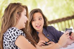 Expressive Young Teen Girlfriends Using Their Smart Phones. Expressive Young Adult Girlfriends Using Their Smart Cell Phone Outdoors Stock Images