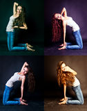Expressive young woman with long hair posing Royalty Free Stock Images