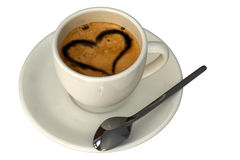 Expresso. Cup with heart isolated over a white background Stock Photos