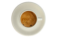 Expresso. Cup isolated over a white background. View from above stock image