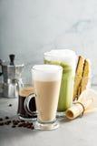 Expresso, café régulier et latte de matcha photo libre de droits
