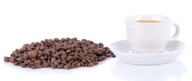 Expresso and coffee beans Royalty Free Stock Image