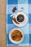 Expresso coffee and egg custard pastry royalty free stock photography