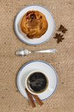 Expresso coffee and egg custard stock image