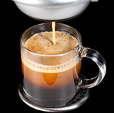 Expresso Coffee in glass cup stock photo