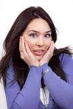 Expressão da surpresa e do choque na face da mulher Imagens de Stock Royalty Free