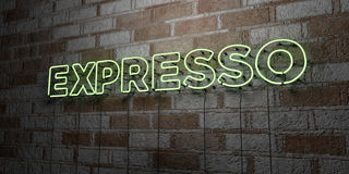 EXPRESSO - Glowing Neon Sign on stonework wall - 3D rendered royalty free stock illustration. Can be used for online banner ads and direct mailers Stock Images