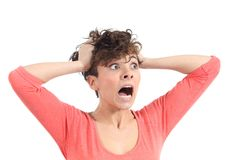 Expressão histérica da mulher com suas mãos na cabeça Imagens de Stock Royalty Free