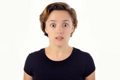 Expressão largamente Eyed da mulher Chocado, surpreendido, assustado, surpreendido Fotografia de Stock
