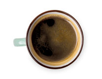 Expresso ou americano, tasse de café noir ci-dessus sur le fond blanc Photo libre de droits