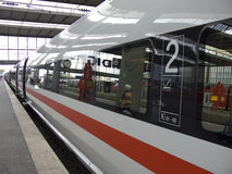 Expresstrain. German express train in a central station stock photography
