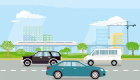 Expressway in the city. Colorful illustration of an expressway with cars traveling in two directions beside parkland and beyond that an elevated  railway line Stock Images
