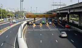 Expressway Din Dang 1 checkpoint in Bangkok City, Thailand Royalty Free Stock Photos