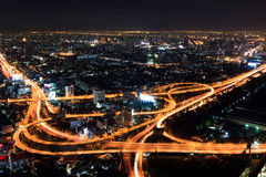 Expressway in downtown at night bangkok Royalty Free Stock Photography