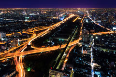 Expressway in downtown at night bangkok Stock Photography