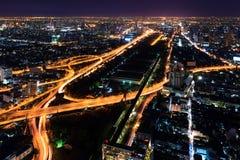 Expressway in downtown at night bangkok Royalty Free Stock Photography