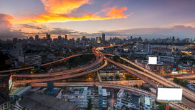 Expressway. Panoramic building modern business district of Bangkok. S-shaped expressway in the foreground at twilight Stock Photography