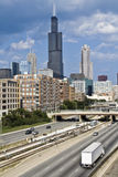 Expressway to downtown Chicago Royalty Free Stock Images