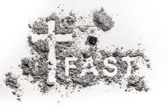 Exprima escrito rapidamente na cinza, na poeira ou na areia foto de stock royalty free
