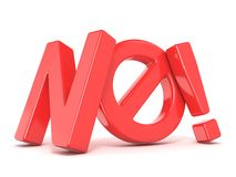 Exprima NÃO com símbolo proibido 3d rendem Imagem de Stock
