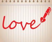 Exprima o amor escrito com a pena de fonte dada forma coração Fotografia de Stock Royalty Free