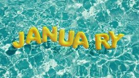 Exprima o anel inflável dado forma ` da nadada de JANEIRO do ` que flutua em uma piscina azul de refrescamento Imagem de Stock Royalty Free
