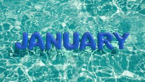 Exprima o anel inflável dado forma ` da nadada de JANEIRO do ` que flutua em uma piscina azul de refrescamento Fotografia de Stock Royalty Free
