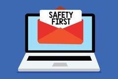 Exprima o conceito do negócio da segurança em primeiro lugar do texto da escrita para Avoid todo o rece desnecessário do computad ilustração do vetor