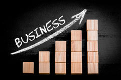 Exprima o negócio na seta de ascensão acima do gráfico de barra Fotos de Stock Royalty Free