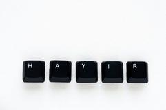 Exprima o ` NENHUM ` do ` HAYIR do significado do ` no turco escrito com chave de teclado Foto de Stock