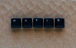 Exprima o ` NENHUM ` do ` HAYIR do significado do ` no turco escrito com chave de teclado Fotos de Stock