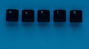 Exprima o ` NENHUM ` do ` HAYIR do significado do ` no turco escrito com chave de teclado Foto de Stock Royalty Free