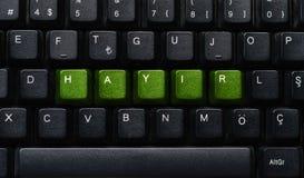 Exprima o ` NENHUM ` do ` HAYIR do significado do ` no turco escrito em um teclado em seguido Foto de Stock