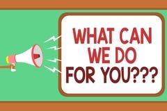 Exprima o texto da escrita o que pode nós fazer para você a pergunta da pergunta da pergunta O conceito do negócio para como poss ilustração royalty free