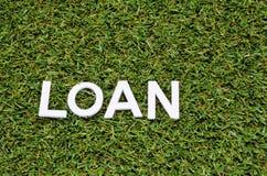 Exprima o verde do empréstimo feito da madeira na grama artificial Imagens de Stock Royalty Free