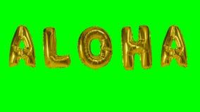 Exprimez aloha des lettres de ballon d'or d'hélium flottant sur l'écran vert - banque de vidéos