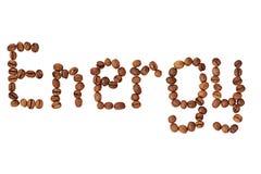 Exprimez l'énergie faite de grains de café d'isolement sur le blanc Photographie stock libre de droits