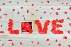 Exprimez l'amour écrit avec les pétales de rose et la boîte avec rin en pierre simple Photos stock