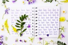 Exprimez l'amour écrit sur un carnet avec des wildflowers photographie stock