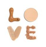 Exprimez l'amour fait à partir des échantillons de base, de crayon correcteur et de poudre Photos libres de droits