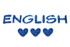 Exprimez l'anglais et trois coeurs abstraits de scintillement bleu sur le fond blanc Images libres de droits