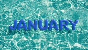 Exprimez l'anneau gonflable de bain formé par ` de JANVIER de ` flottant dans une piscine bleue régénératrice photographie stock libre de droits