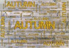 Exprimez l'automne fait en feuilles et mot d'isolement sur le fond en bois Photographie stock
