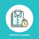 Exprimez l'icône de nettoyage à sec, ligne logo de blanchisserie Signe plat pour le service de laverie Logotype pour des affaires illustration libre de droits