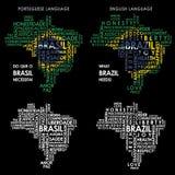 Exprimez la carte du Brésil constituée par des mots nécessaires du pays illustration stock