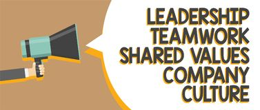 Exprimez la culture d'entreprise de valeurs partagée par travail d'équipe de direction des textes d'écriture Concept d'affaires p illustration stock