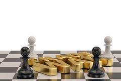 Exprimez la guerre commerciale avec des échecs d'isolement sur le fond blanc illus 3d illustration de vecteur