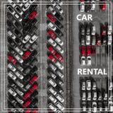 Exprimez la location automatique au-dessus de beaucoup de voitures d'en haut Photographie stock