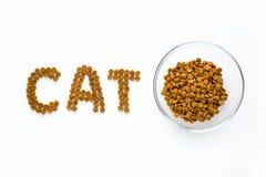 Exprimez la marque de CAT faite de nourriture sèche avec la pleine cuvette Photo libre de droits