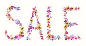 Exprimez la vente d'une lettre des fleurs et des baies Photo libre de droits